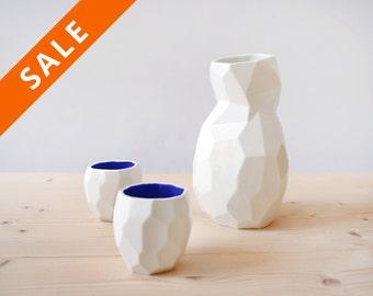 Sake set - Modern design sake set - design sake - faceted set to drink liquor - poligons - studio lorier - sander lorier