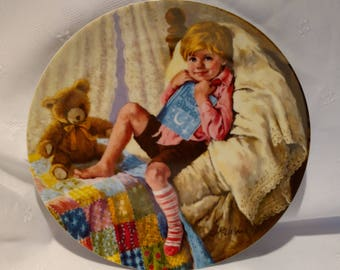 1984 Mother Goose Series Collection Plate Diddle Diddle Dumpling by John McClelland with COA #A19866
