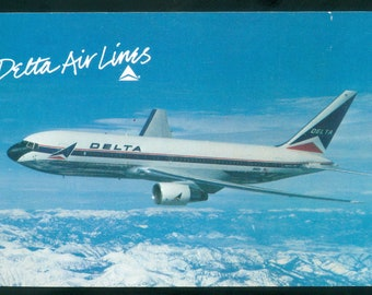 Delta Air Lines Boeing 767 Twin Jet Aircraft Aerial Photo Postcard (21004)