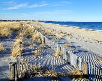 Pretty view of dune fences at Duxbury Beach, Massachusetts, beach photos, ocean, seashore, New England, east coast, archival signed print
