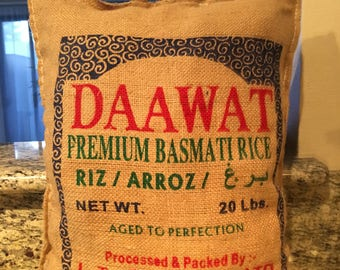 Repurposed Daawat Rice Bag into Pillow