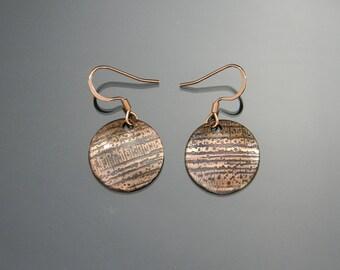 Copper Earrings, Coin Earrings, Disc Earrings, Small Dangle Earrings, Copper Jewelry, Domed Copper Earrings