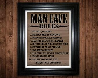 Diy Man Cave Art : Man cave rules etsy