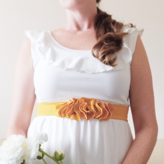 Floral bridal sash Cotton Sash Flower Petal Belt Accessory Bridesmaid accessories fabric belt stretch jersey Mustard yellow - Made to Order