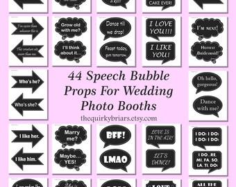 DIY Photo Booth Props / Chalkboard Speech Bubbles / Weddings / Parties / 44 Pcs  / Party Printable / Decors / Digital Instant Download