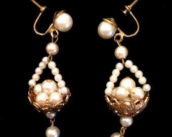 Vintage Pearl Earrings Filigree Basket Earrings