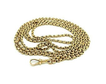 Antique 9ct Gold Chain | Victorian Gold Chain | Faceted Belcher CHain | 9ct Gold Chain | Extra Long Gold Chain | Long Guard Chain Necklace