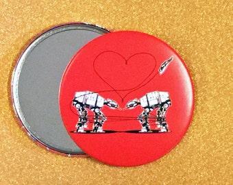 3.5 Inch AT-AT Love Purse Mirror - Red, Star Wars Mirror, Star Wars Gift, Star Wars Party, Pocket Mirror, Compact Mirror, Hand Mirror