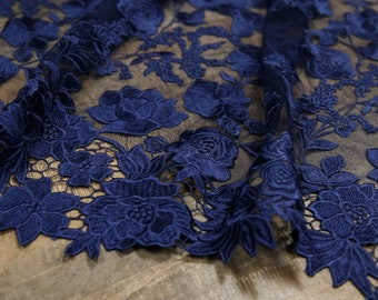 Latest fashion dark blue lace, embroidery lace, lace fabric,tulle lace guipure french lace fabric for attire dress-1 / yard