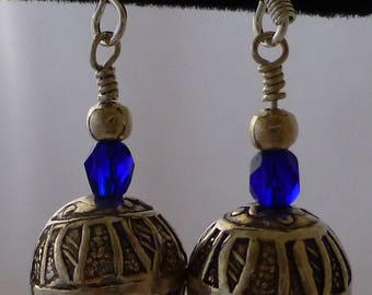 Royal Blue Bead and Silver Ball Dangle Drop Earrings