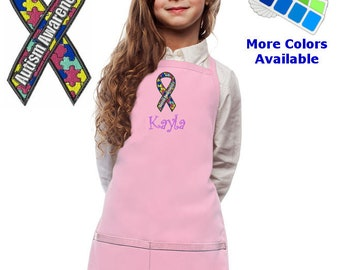 Personalized Kids Apron with Autism Awareness Ribbon Embroidery Design