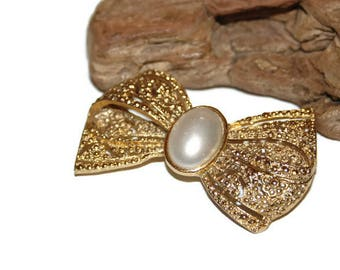 Bow Brooch Faux Pearl, Classical Jewelry, Classical Brooch, Gold Pin, Bow Shaped Brooch, Dressy Brooch, Bow Jewelry, Fancy Jewelry