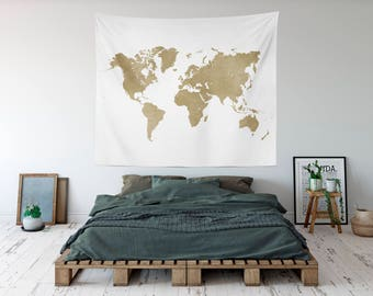 Large world map etsy gold map tapestry worldmap travel tapestry world map kids room wall tapestry gumiabroncs Image collections