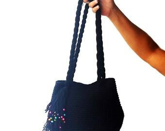 Black crochet hobo bag with colorful wooden beads, crochet bag, cotton chunky bag, black crochet handbag, large hobo bag, boho crochet purse