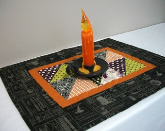 Halloween Table Topper Quilted FREE US Shipping Quiltsy Handmade Spiders Bats