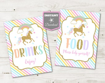 INSTANT DOWNLOAD Unicorn Printable 5x7 Food and Drinks Signs / Baby Shower / Birthday / Unicorn Collection / Item #3535