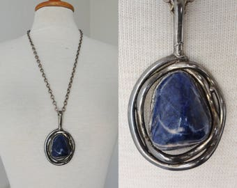 Fantastic 70s Vintage Pewter Pendant With Blue Stone