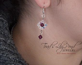 SALE | Swarovski Crystal Earrings - Purple Crystal Jewelry - Amethyst Bridesmaid Jewelry - Purple Crystal Earrings for Women