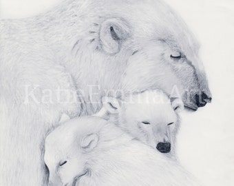 Polar family print of my original drawing, limited edition, wildlife, nature, polar bears, animals, birthday, presents, gifts