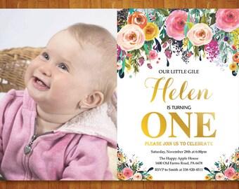 Girl 1st Birthday Invitation. Floral Pink and Gold First Birthday Invitation. Girl Birthday Party Invite. Custom Photo. Printable Digital.