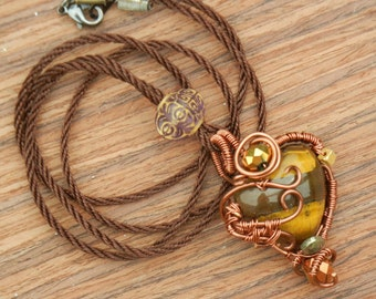 Wire Wrapped Tiger's Eye Heart Necklace