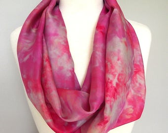 "Hand Dyed Silk Infinity Scarf - 11 x 76"", Fuschia, Grey,  Long Infinity Loop"