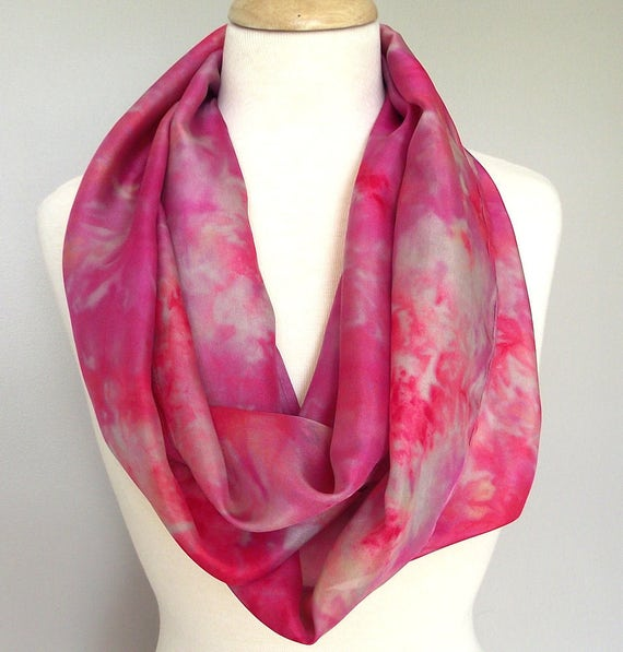 "Hand Dyed Silk Infinity Scarf - 11 x 76"", Fuschia, Grey,  Long Infinity Loop"