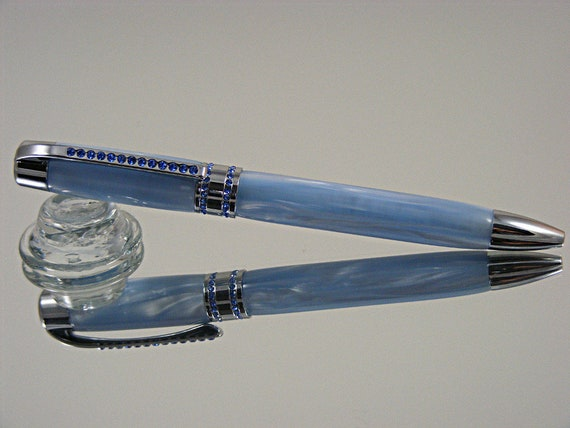 Handcrafted Ink Pen with Blue Crystals in Chrome and Sky Blue Pearl Acrylic