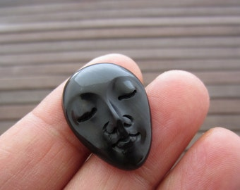 Oval face cabochon with closed eyes , Buffalo horn Carving, Embellishment, Cabochon for setting B4988