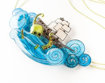 Kraken Octopus Necklace, Nautical Statement Necklace, ocean ship pendant, octopus jewelry, kraken and pirate ship