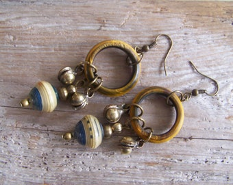 rustic earrings with beautiful materials