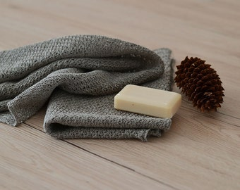 2 Natural Linen Towels Rustic Knitted Towel Hand Towels Natural Linen Towels