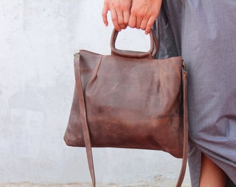 Brown leather bag, crossbody bag, top handle bag, leather purse, small leather bag, minimalist bag, handmade leater bag for women, for her