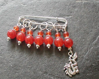 Red Beads Welsh Dragon Charm Knitting Stitch Markers Set of 7 Handmade