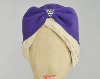 violet felt vintage 1940s style turban with Swarovski diamante