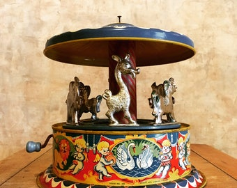 Vintage Original Tin Toy Carousel Carnival Ride with Elephant Giraffe Horse Authentic