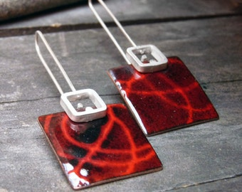 Dangle  enamel earrings Red and Black color, Sterling silver and copper, Stencil earrings