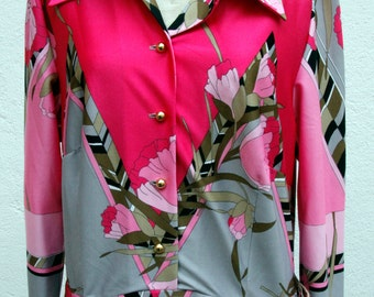 Vintage dress / 70s with flowers