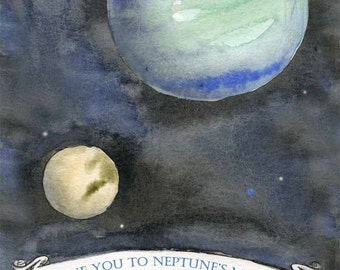 Space Themed Nursery - I Love You to Neptune's Moons and Back - Girl Nursery - Boy Nursery - Nursery Art - Space Watercolor