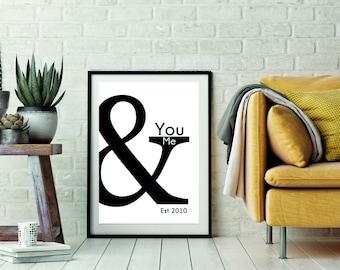 you and me print - valentines print - love print - anniversary print - couples print - lover wall art - valentines wall art - monochrome