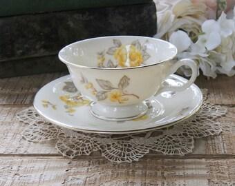 Mid Century Yellow Rose Teacup and Saucer, Tea Cup Set Princess Tea Party, Bridesmaid Luncheon, Housewarming Gift