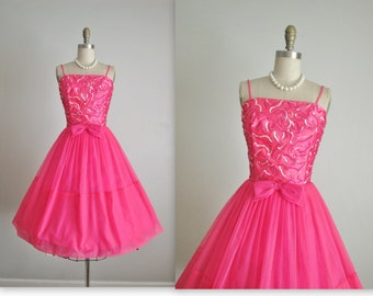 RESERVED 50's Chiffon Dress //  Vintage 1950's Hot Pink Sequin Satin Chiffon Cocktail Party Prom Dress S