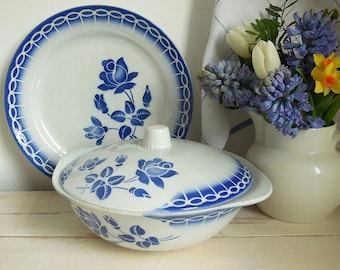 Vintage French tureen, blue and white