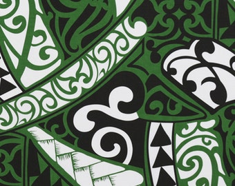 Polynesian Samoan Luau Fabric Tribal Tattoo Lauhala Patterns Lavalava Costume Green White Black HPCN10209, AskForBulk