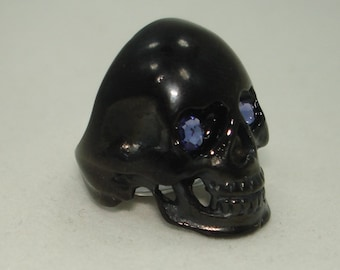 Made with Swarovski Crystal rhinestones eyes in ANY color Black Stainless Steel Skull ring for Harley Davidson Biker Rockabilly Punk Skater