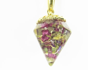 Purple Alyssum, Tiny  Drop with Real Flower Petals, Resin,  pressed flower jewelry  (1940)