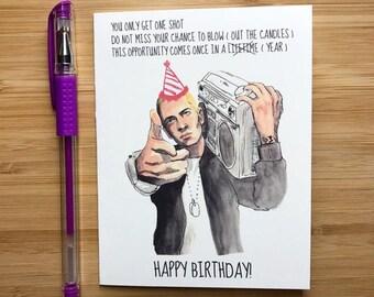 Lose Yourself Birthday Card, Hip Hop Happy Birthday, Rap Music Birthday Party Favors, Hip Hop Music, Birthday Card Teen Boy, Handmade Cards