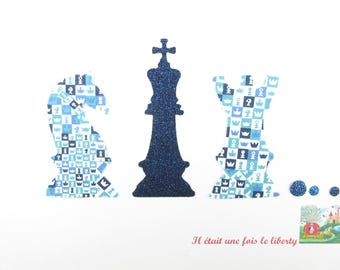 Play chess and Matt liberty Checkmate blue seconds and flex glitter patch iron on patch