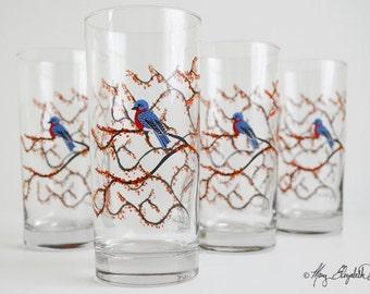 Autumn Bluebird Glassware - Set of 4 Everyday Glasses, Bluebird Glasses, Bluebirds, Blue Bird Glasses, Tree Glasses, Bird Glasses, Birds