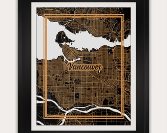 Vancouver - British Columbia - Canada - Minimalist City Map Art Print - 11x14 Inches - Office Living Room Alternative Deco Home Decor Poster
